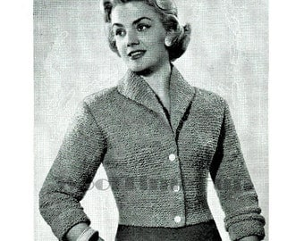 Knitting Pattern Vintage 1950s Lady's Short Fitted Jacket. Quick Knit.
