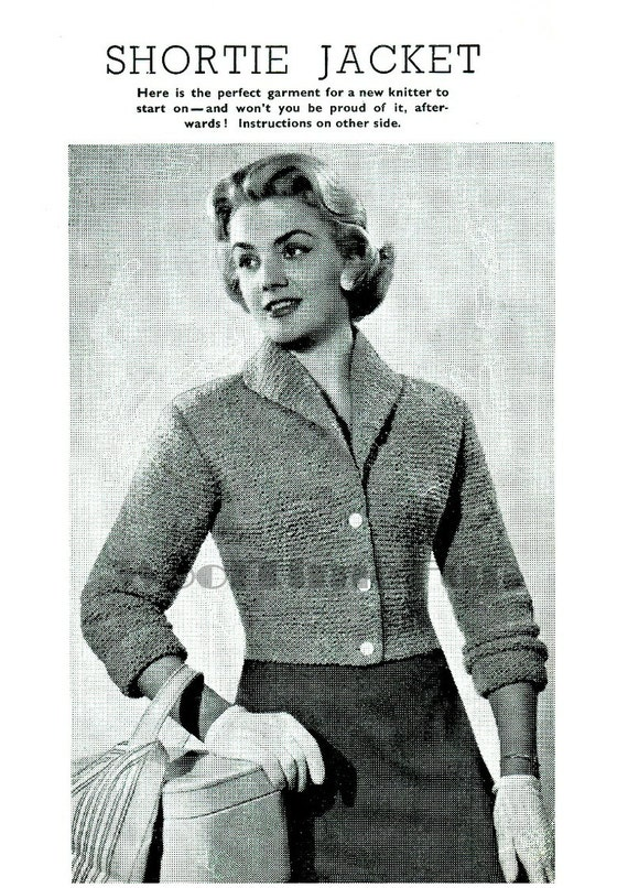 Knitting Pattern For Fitted Jacket : Knitting Pattern Vintage 1950s Ladys Short Fitted Jacket.
