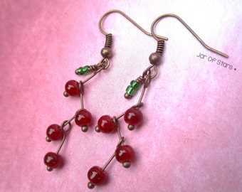 Antique copper zigzag red berry leaf drop earrings