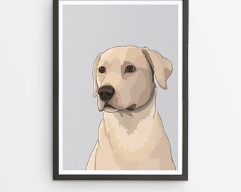 Labrador Illustrated Breed Print  / Various Colours /  Dog Lover's Gift / Poster