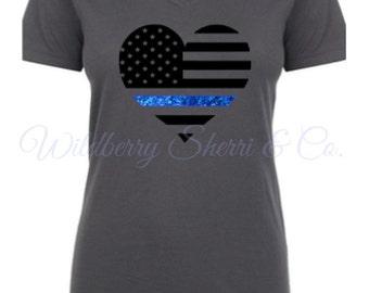 Blue Line, Heart Shaped American Flag, Ladies Shirt, American Flag Shirt,