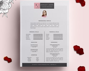 resume template 3pack cv template cover letter for ms word instant digital download - Fashion Designer Resume Sample