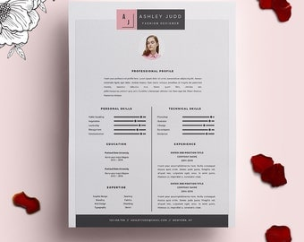 resume template 3pack cv template cover letter for ms word instant digital download - Fashion Design Resume Template