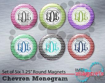 Monogram Magnets - Monogrammed Gift - Monogrammed Scrapbook Flair - Buttons - Teacher Gift - Stocking Stuffer