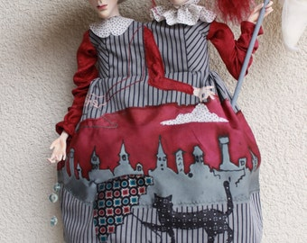 "ARTDoll-Handmade doll-OOAK-""Cloudy with a chance rainfall""-Human figure-Home dekor"