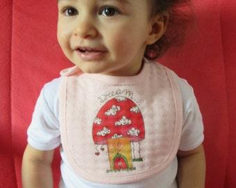 Baby cotton bib, baby girl, pink, mushroom home bib, baby shower gift, baby fashion