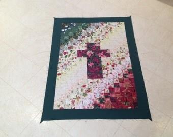 Christmas Poinsettia Cross watercolor quilt