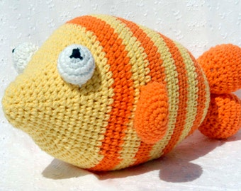 Crochet Frankie Fish, Amigurumi Stuffed Animal, Hand Made Soft Toy, Yellow and Orange Fish with Sewn On Eyes