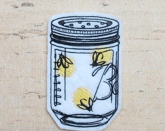 Fireflies Embroidered Patch, Lightning Bugs, Summer, Firefly Jar