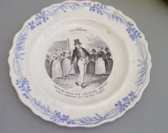 Antique French earthenware comic historic plate