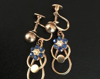 Vintage Blue Flower Dangle Clip on Earrings