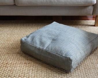 Floor cushion cover, bean bag cover | Cream-light grey, light blue