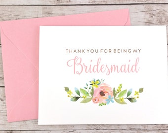 Thank You For Being My Bridesmaid Card, Floral Bridesmaid Card, Wedding Card, Bridesmaid Gift - (FPS0013)