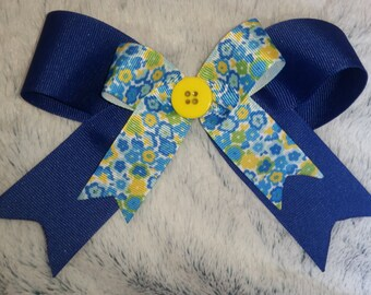 Navy and Floral Bow