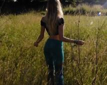 Jade Tie-Dye Yoga Leggings - Bohemian Workout Pants