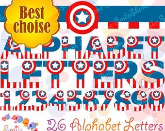 36 PNG Captain America Alphabet Letters & Numbers Digital Birthday Party Decorations Printable Superhero Alphabet Avengers Clip Art Decor