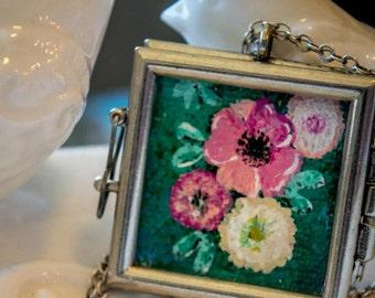 Hand Painted Flower Locket Pendant