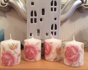 Set of 4 Emma Bridgewater Rose and Bee Votive Candles Decoupage Vintage Shabby Chic