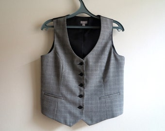 Womens Grey Vest Plaid Vest Womens Vest Fitted Vest Steampunk Checkered Waistcoat Formal Vest Large Size