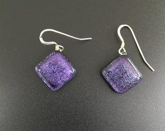 Fused dichroic glass, Purple Earrings with Sterling Silver Hoops