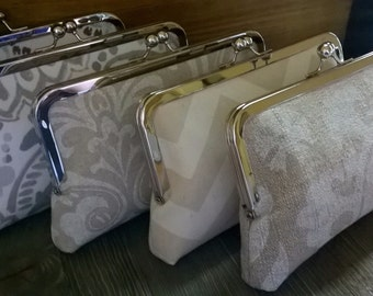 Set of 6 Bridesmaid Clutches in Ivory, Cream, White, Taupe, Choose Your Prints, Neutral Bags