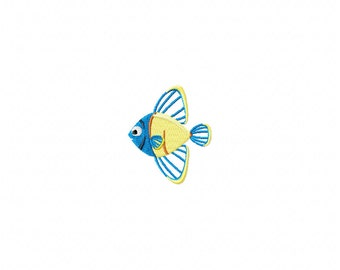 fish embroidery design, blue fish embroidery design, dory embroidery design, blue yellow fish design,