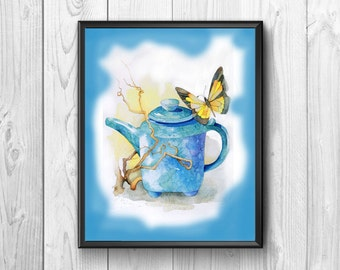 Watercolor depicting teapot with a butterfly resting. Posters nice and original, great to hang in a kitchen