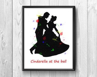 Cinderella, Cinderella at the ball, Cinderella print, poster Cinderella