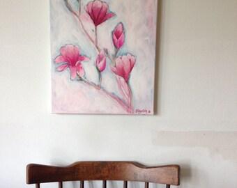 Original Acrylic Painting Magnolia Spring (2016)