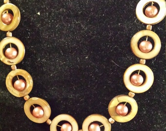 Brown & Gold pearl and shell necklace