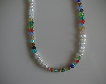 Beaded multi colored crystal necklace