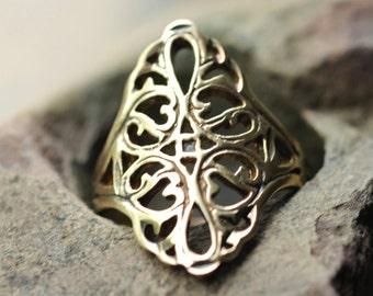vintage Seta sterling silver filigree ornate ring, size 5 sterling ring