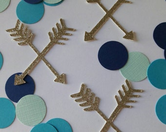 Tribal Boho Confetti / Tribal Party / Arrow Confetti Turquoise Navy Confetti / Aztec Confetti / Wild One / Arrow Decor / Baby Shower Decor