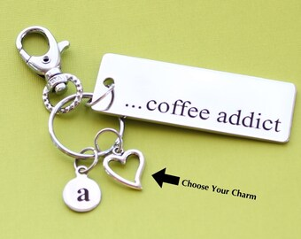 Personalized Coffee Key Chain Coffee Addict Stainless Steel Customized with Your Charm & Initial -K77