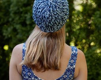 Navy/Sky Blue Crocheted Beanie