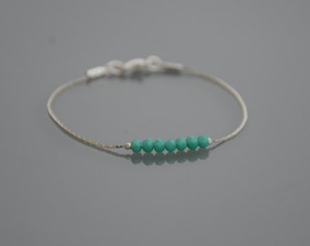 Bracelet minimalist silver snake chain - turquoise glass beads