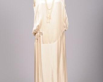 1920 Champagne Slipper Satin Vintage Wedding Dress