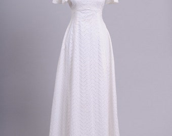 1970 Eyelet Cotton Vintage Wedding Gown