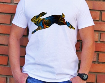 Fast Rabbit Tee - Art T-shirt - Fashion T-shirt - White shirt - Printed shirt - Men's T-shirt - Gift