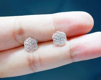 Flower Of Life Earrings,Silver flower filigree earring, 925 sterling silver, Filigree earrings, Geometric ear studs, Bohemian stud