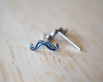 925 Sterling Silver Moustache Stud Earrings, hipster jewelry, mustache jewelry, beard earrings, beard stud earrings, Geek Jewelry, Gift