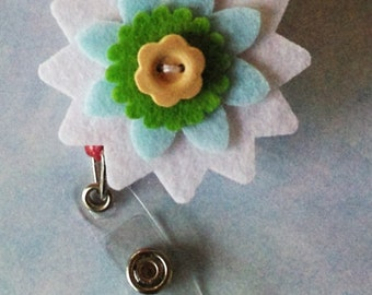 Felt flower retractable badge reel