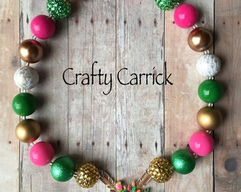 Arrow - Crossed Arrows - Pink, Green, and Gold - Flowers - Chunky Bead Necklace