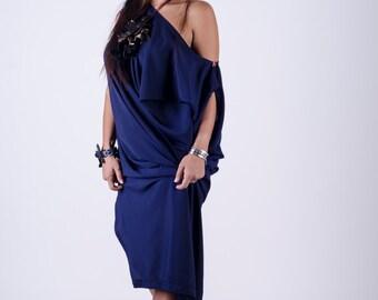 dark blue slit one shoulder long dress