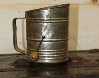 Vintage Flour Sifter with Green Crank Handle