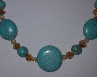 Turquoise and Swarovski Crystal Necklace