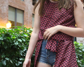 Top red patterned