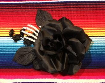 Full black rose with skeleton hand and mini flower vine