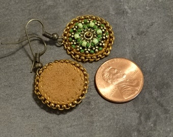 Petite Green Bead Embroidered Earrings