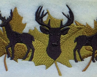 Embroidered Deer Trio In Autumn Leaves Shirt